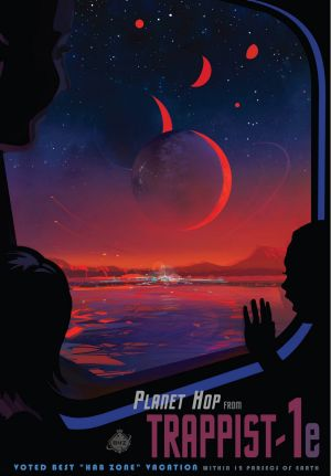 A NASA poster promoting the TRAPPIST-1 discovery.
