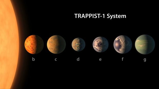 Aan artist's conception of what the TRAPPIST-1 planetary system may look like,