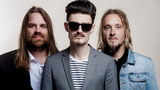 Rai Thistlethwayte, centre, with Thirsty Merc band members Phil Stack and Matt Smith