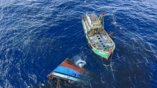 Indonesia sinks an illegal fishing boat in its waters.