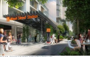 Latest artists impression for Cross River Rail for the shifted Albert Street escalators down to the underground rail.