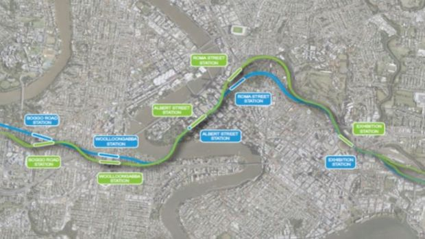 2017 changes to Cross River Rail are shown in green from the original business case shown in blue.