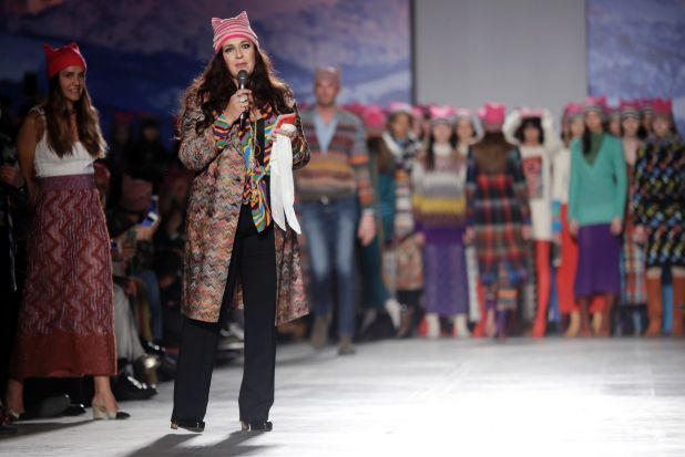 February: Angela Missoni addresses the audience after she put 'pussy hats' on models in her Milan parade, following the ...