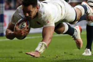 In form: Former NRL star Ben Te'o scores for England.