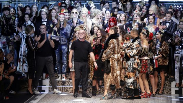 Stefano Gabbana, left, and Domenico Dolce take the catwalk at the end of the presentation of their Dolce&Gabbana women's ...