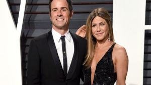 Justin Theroux and Jennifer Aniston arrive at the Vanity Fair Oscar Party in 2017.