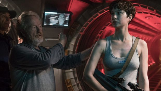 Ridley Scott with Katherine Waterston on the set of Alien: Covenant.