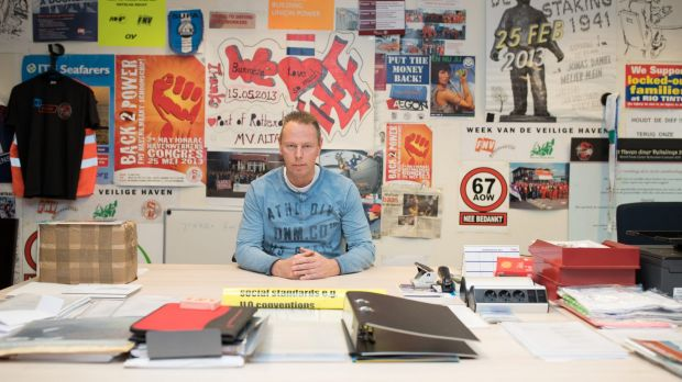 Niek Stam in his office in Rotterdam, Netherlands. In the 1970s, Rotterdam was the world's largest port and 25,000 ...