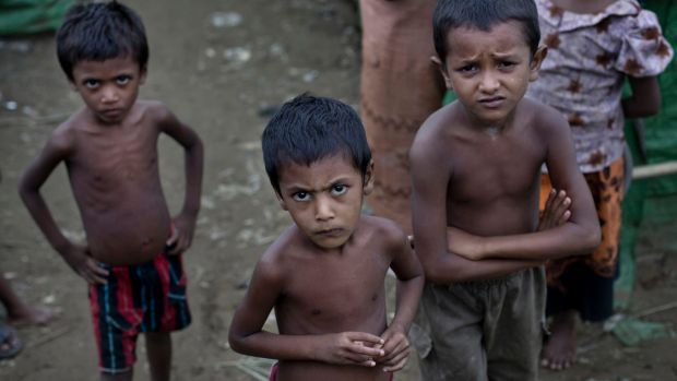 Rohingya children at the Dar Paing camp for Muslim refugees, western Rakhine state, Myanmar.