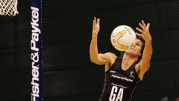 Tania Dalton makes a mid-air catch during the third netball test match between the New Zealand Silver Ferns and ...