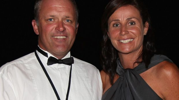 Tania Dalton with husband Duane at the Battle for the Belt match between Sonny Bill Williams and Clarence Tillman III in ...