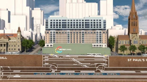 An artist's impression of the City Square and the Metro Tunnel to be built beneath it and Swanston Street.
