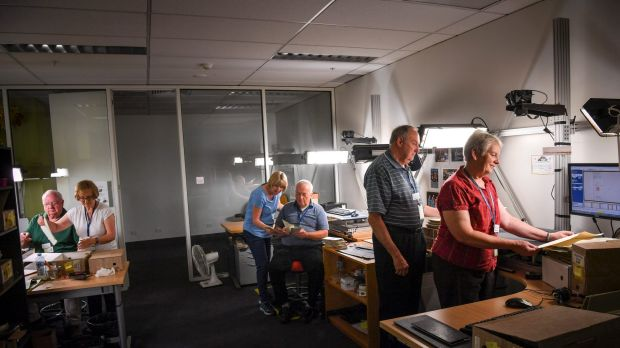 Mormon volunteers at the Victorian Archives Centre in North Melbourne. From left, Roger and Kathleen Bingham, Deborah ...