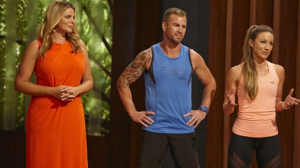 Fiona Falkiner, host of <i>The Biggest Loser: Transformed</i>, with trainers Shannan Ponton (middle) and Libby Babet.