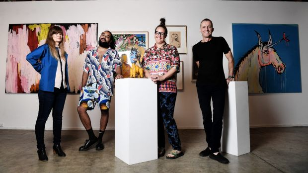 Artists Lara Merrett, Ramesh Mario Nithiyendran, Del Kathryn Barton and Nicholas Harding are showing off their private ...