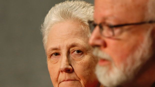 Cardinal Sean O'Malley, the archbishop of Boston, right, and Marie Collins at a press conference at the Vatican.