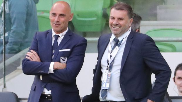 Key pair: Melbourne Victory coach Kevin Muscat and Socceroos head coach, Ange Postecoglou.
