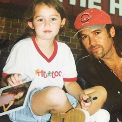 "Miley Cyrus shared this throwback to a friendly childhood game of ""meet and greet"" with dad, Billy Ray Cyrus."