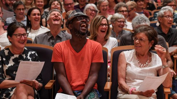 The City Recital Hall hosts the Sydney Flash Mob Choir, an impromptu gathering of hundreds of singers.