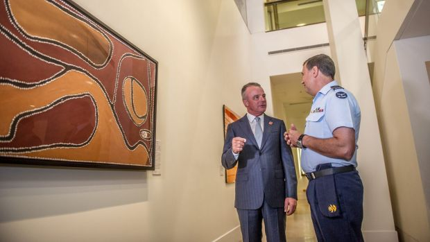 Australian War Memorial director Dr Brendan Nelson and Squadron Leader Gary Oakley at the unveiling of Ruby Plains ...