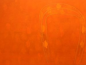 'Dust of My Fathers' shows the interplay of golden-hued tones with clamorous orange-reds – based on a wild dust storm ...