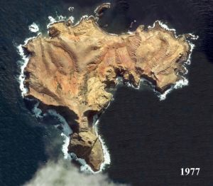 A satellite image of Phillip Island from 1977.
