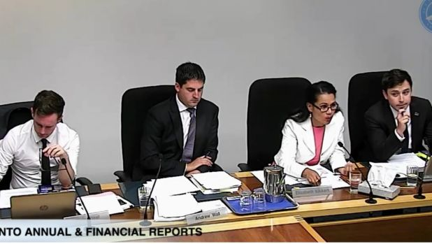 """Elizabeth Kikkert at ACT parliamentary hearings: """"It's not safe school, it's safe sex"""". She is with, from left, Labor's ..."""