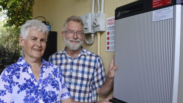 Lainie and David Shorthouse with their solar battery system.