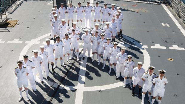 HMAS Warramunga crew show their support for efforts to White Ribbon Day, which raises money to eliminate violence ...