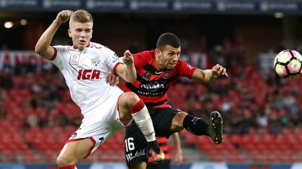 Riley McGree, left, is among the younger talent in the Socceroos squad.