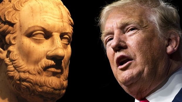 Greek historian Thucydides and US President Donald Trump.