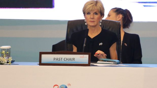 Foreign Minister Julie Bishop at a session of the Indian Ocean Rim Association  in Jakarta.