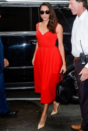 "Actress Meghan Markle enters the ""Today Show"" taping at NBC Rockefeller Centre Studios on July 14, 2016 in New York City."