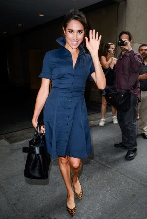 Meghan Markle leaves the Today Show taping at NBC Rockefeller Centre Studios.