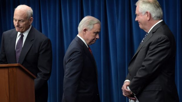 From left, Homeland Security Secretary John Kelly, Attorney-General Jeff Sessions and Secretary of State Rex Tillerson, ...