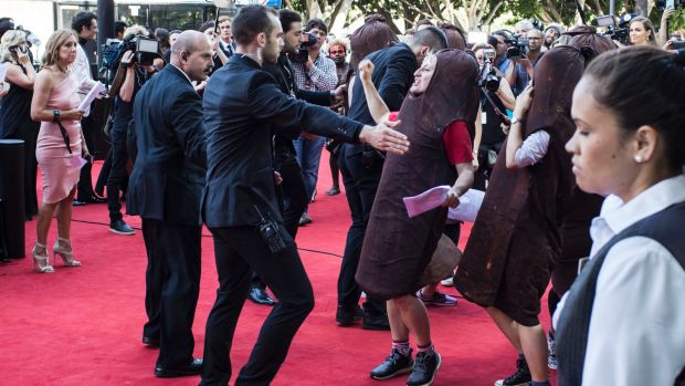 The sausage protest against the lack of female representation at the 2016 AACTA awards.