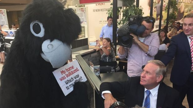 Colin Barnett was heckled by a Roe 8 cockatoo protester in the days before the election.