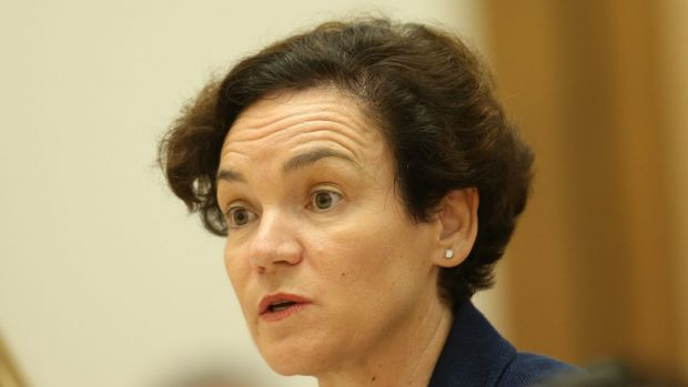 Kathryn Campbell, secretary of the Department of Human Services, before a Senate committee hearing into the Centrelink ...