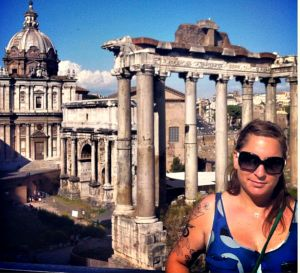 Katherine O'Dwyer pictured in her travels at the Forum, in Rome.