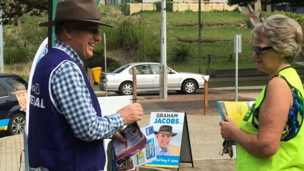 Dr Jacobs was spotted holding One Nation material while on the campaign trail in Esperance.
