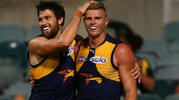 Josh Kennedy with ex-Cat Nathan Vardy, who will debut for West Coast in round one.