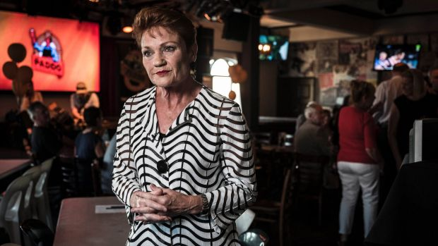 Pauline Hanson at a meeting at the Padington Ale House in Perth.