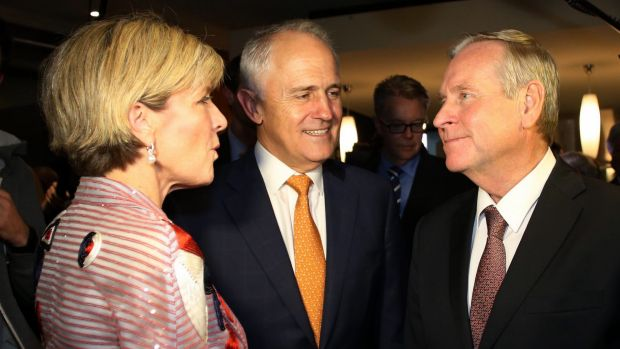 Prime Minister Malcolm Turnbull with Julie Bishop and Premier Colin Barnett.