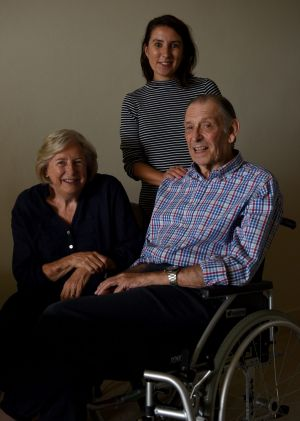 Barbara Leonard with her husband David who had a stroke and professional carer Rosa.