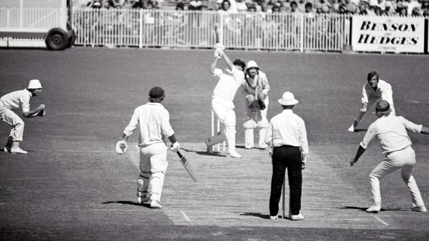 Centenary Test, Australia v England: March 17, 1977: David Hookes hits five consecutive fours off English bowler Tony Grieg.