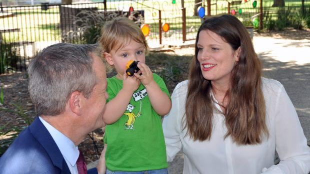 Labor MP Kate Ellis with her son Samuel and Opposition Leader Bill Shorten.