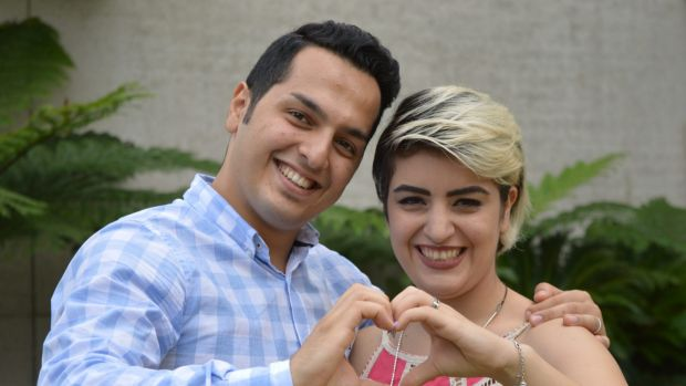 Brisbane asylum seeker Mojgan Shamsalipoor with her husband Milad Jafari.