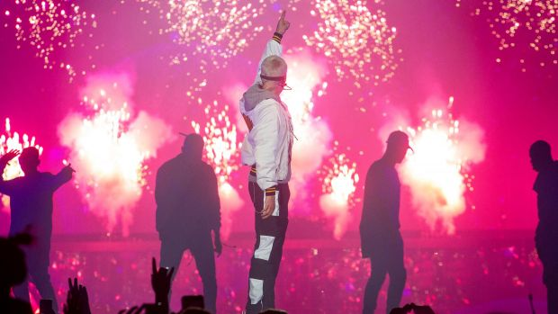 Justin Bieber performs on tour in Australia.