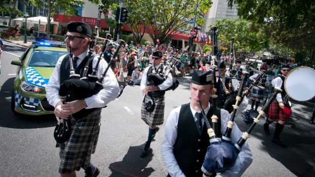 St Patrick's Day Parade sent the sound of bagpipes and drums echoing through Brisbane's inner-city streets.
