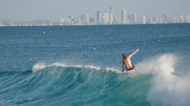Surfers were reveling in the swell off the Gold Coast on Saturday.